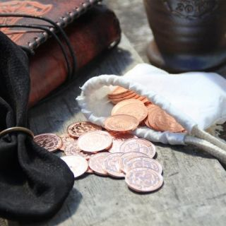 50 copper coins in a pouch