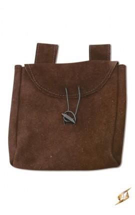 Cienka torba ze skóry - brązowa - L