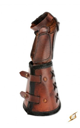 Leather gauntlet R hand - Brown