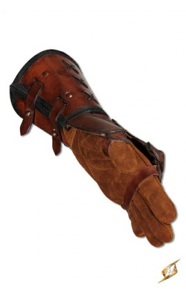 Leather gauntlet L hand - Brown